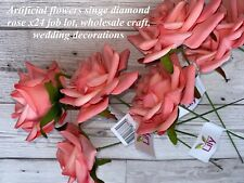 Artificial flowers Singe Diamond Roses X24 Job Lot Wholesale Vintage Pink