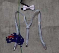 MEN WOMEN GREY 15mm Braces Suspenders 100% COTTON PINK GREY Bow Tie BOWTIE