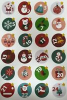 24 X Advent Calendar Countdown 24 -1 Sleeps until Christmas Stickers Labels