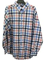 Roundtree & Yorke Men's Shirt Size XL Red White Blue Plaid Button Up Top New