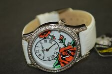 Ed Hardy Swarovski Antoinette Tattoo White Ladies Watch 176044