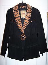 Frontier western fringe suede leather aztec jacket coat size medium USA EUC
