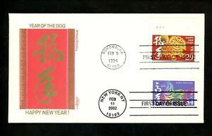 US FDC #3559 Artmaster 2002 NY Lunar New Year Horse Dual Combo #2817 Dog
