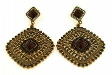 Earring antique Gold color Light & smokey Topaz Colored Crystals+ Brown Resin