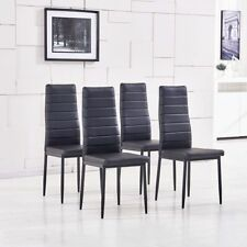 4Pcs Black Dining Chairs Kitchen Dinning Room Faux Leather Metal Leg Padded Seat