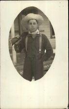 Man in Hat Suspenders Kerchief w/ Gun on Shoulder GREAT IMAGE c1910