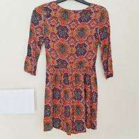 Ladies GLAMOROUS Fit&Flare Dress Size XS Paisley Print Boho Hippy Festival Retro