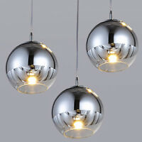 Modern Pendant Light Bar Chrome Glass Ceiling Lights Kitchen Chandelier Lighting