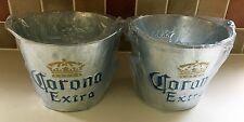 CORONA METAL ICE BUCKET X 2 - NEW - HOME BAR PUB DRINKS SPIRIT PAIR TWO PLANTERS