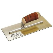 "Elite Series Stainless Steel Plaster Trowel 12"" x 5"" Leather Handle 20800"