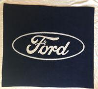 Biederlack Blanket Throw Ford Blue White 53 1/4 x 47 3/4