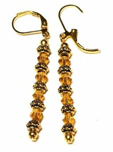 Long Gold Amber Crystal Leverback Earrings Drop Dangle Glass Bead Classy Vintage