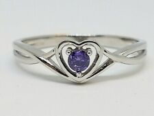 Sterling Silver Purple CZ Heart February Birthstone Ring Size 7