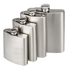 6-18oz. Stainless Steel Pocket Flask Alcohol Whiskey Liquor Screw Cap & Funnel