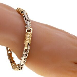 "14k Yellow & White Gold Handmade Fashion Link Bracelet 9"" 7.5mm 47.5 grams"