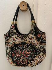 New listing Vintage 50s 60 Floral Tapestry Carpet Shoulder Bag Purse Needlepoint Rose Black