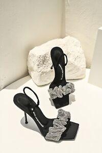 Alexander W BlingBling Crystal Embellishment High Heels Leather Sandals Summer
