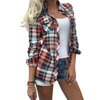 Fashion Women Ladies Long Sleeve Plaid Checks Turn Down T-Shirt Tops Blouse
