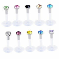 10x White 16G Stainless steel Crystal Labret Stud Monroe Bar Lip Ring Pierc A1U0