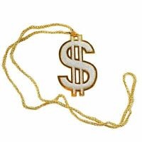 6pc Halloween Costume Accessory Dollar Sign Bling Necklace Gold Chain Prop BULK