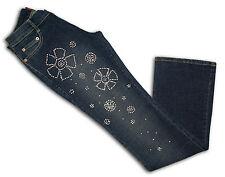 JEANS PANTALONE DONNA STRETCH RICAMATO STRASS BRILLANTI COLORE BLU 38 40 42