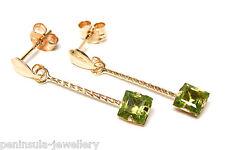 9ct Gold Peridot Long Drop Earrings Gift Boxed Made in UK