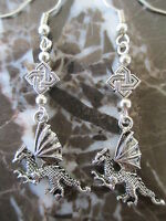 Gothic Emo Silver Dragon & Celtic Knot Artisan Handcrafted Earrings-Wicca Pagan