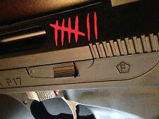 KILL NOTCH TALLY MARK STICKERS | WEAPON FIREARM CROSSBOW PELLET AIR GUN BOW