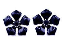 Pretty black silver tone lotus flower stud earrings