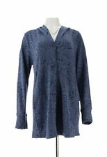 Cuddl Duds Comfortwear Snap Closure Hoodie Blazer Midnght Paisley S NEW A310282