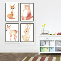 Forest Animals Canvas Painting Fox Rabbit Bear Art Print Poster Kids Room Decor