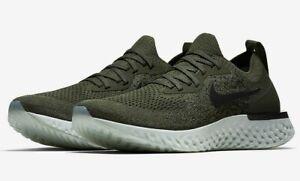 NEW Ladies Girls Boys Nike Epic React Flyknit Trainers Khaki Black UK Size 3