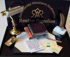 REUTTER PORZELLAN DOLLHOUSE MINIATURE  VICTORIAN LAMP DESK SET NEW MINT