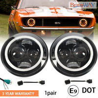 7'' Round LED Headlights Halo Ring DRL Hi/Lo Beam For Chevrolet G10 20 30 C10 20