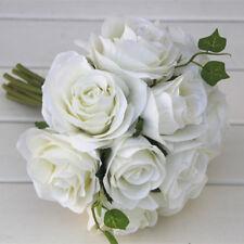 Silk Rose Bouquets Wedding Bridal Bridesmaid Bouquet Artificial Flower White