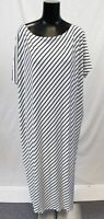 Kidsform Women's Loose-Fit Striped Maxi Dress DD5 White/Black Size XL NWT