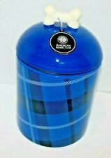 AMERICAN KENNEL CLUB PET FOOD AND TREAT JAR BLUE PLAID