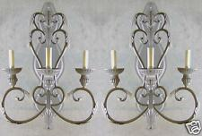 HUGE PAIR FRENCH ITALIAN ANTIQUE TUSCAN STYLE BRONZE FINISH WROUGHT IRON SCONCES