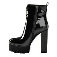 Women's Platform Ankle Boots Round Toe Chunky Heel Patent Leather Combat Booties