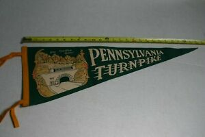PENNSYLVANIA TURNPIKE BLUE MT. TUNNEL FULL SIZE PENNANT MULTI COLOR ON GREEN
