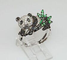 18k WHITE GOLD TSAVORITE GREEN GARNET DIAMOND ANIMAL PANDA BEAR ASIAN RING