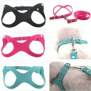 New Soft Crystal Rhinestone Puppy Pet Dog Harness Suede Leather Collar Leash Set