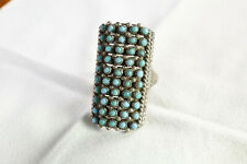 Gorgeous Zuni Haloo Style Snake eyes Turquoise & Sterling Silver Ring Size 7.25