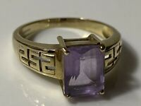 Stunning Vintage 9ct 375 Gold & Purple Amethyst Ring Birmingham 3.5g