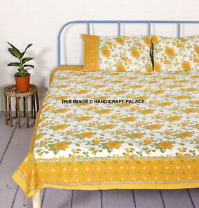Indian Floral Cotton Fabric Queen Size Bedding Bedspread Ethnic Throw Bed Sheet