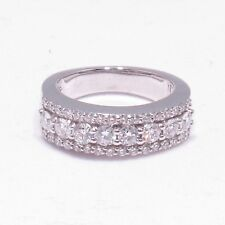 1.00 Ct Round Diamond Wedding Band in 18k White Gold New