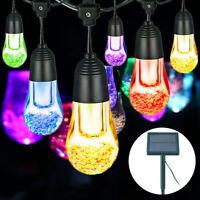 LED Solar Lichter Kette 2 Stufen Außen Lampen Garten Deko Beleuchtung Glühbirnen
