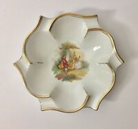 "Meissen Porcelain Large Ashtray / Dish 7.5"" Vintage Victorian Scene Gold Trim"