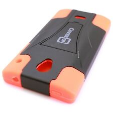 For Sharp AQUOS Crystal Case - Hybrid Hard Kickstand Phone Cover Orange & Black