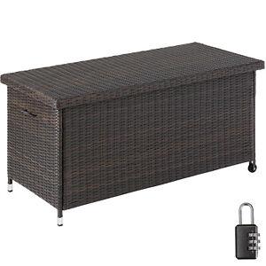 Auflagenbox Rattan Kissenbox Gartenbox Gartentruhe Aufbewahrungsbox Kiste braun